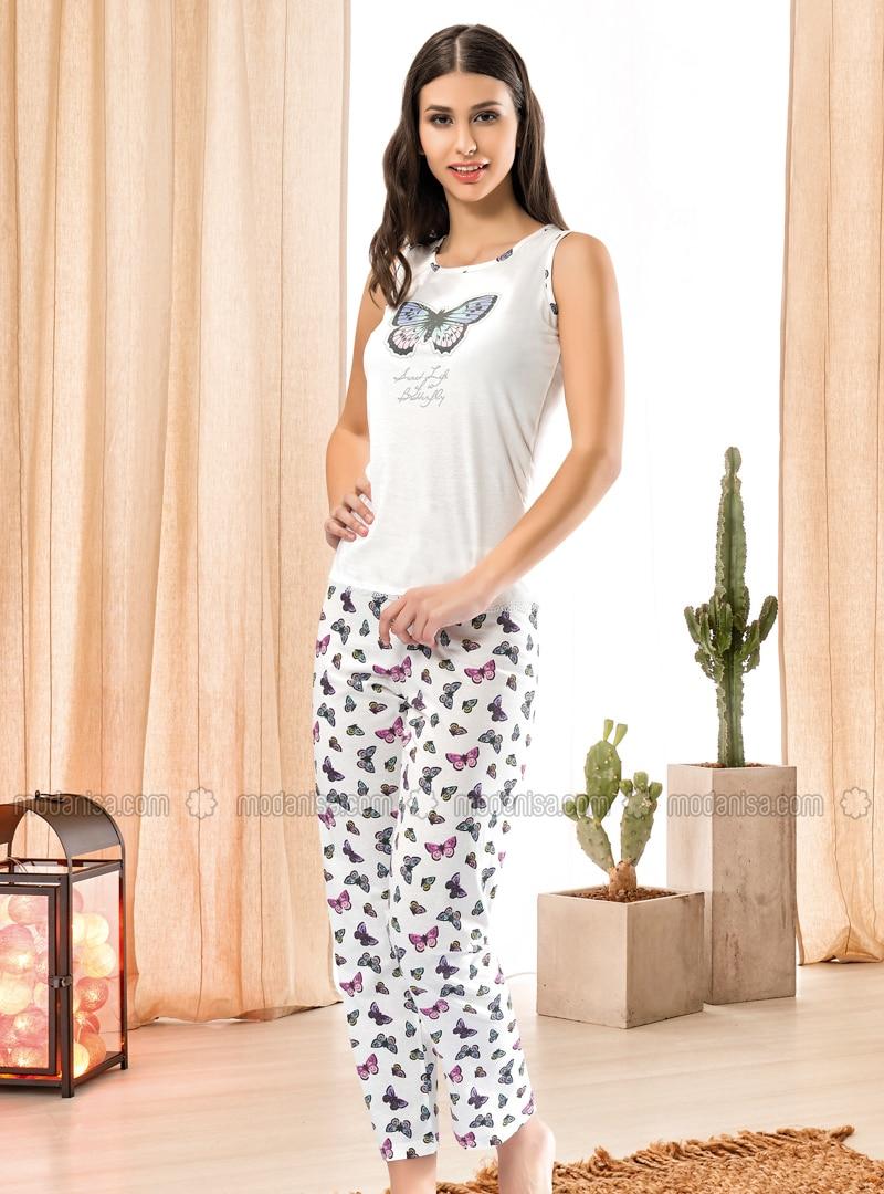 Ecru - Crew neck - Multi - Pyjama Set