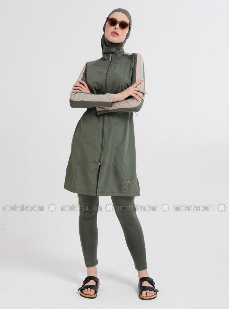 Khaki - Multi - Fully Lined - Full Coverage Swimsuit Burkini