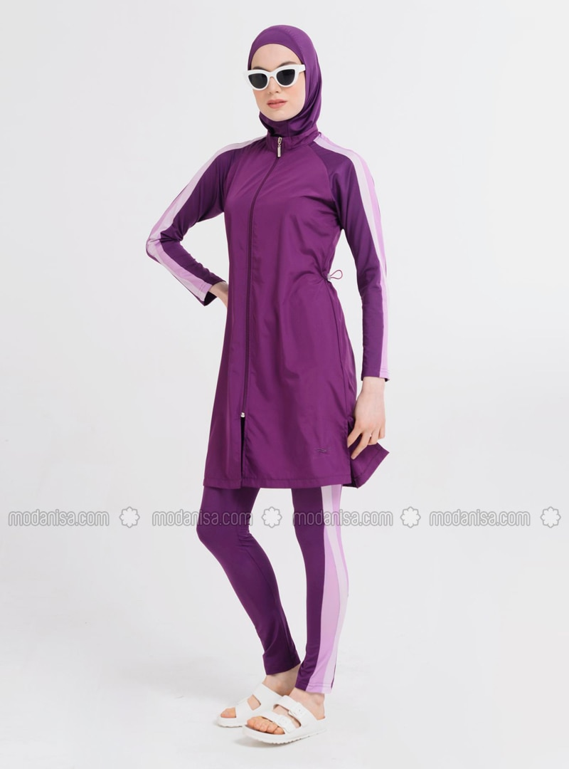 Purple - Multi - Fully Lined - Full Coverage Swimsuit Burkini