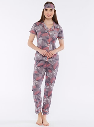 Mink - Shawl Collar - Multi - Pyjama Set