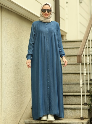 Dark Blue - Unlined - Point Collar - Abaya