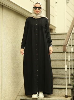 Black - Unlined - Point Collar - Abaya - Neways