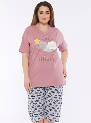 Lilac - Multi - Plus Size Pyjamas - Fawn