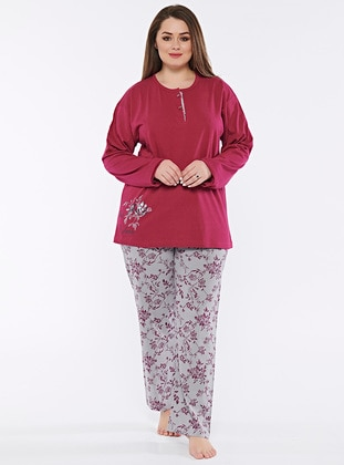 Purple - Multi - Plus Size Pyjamas