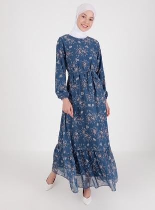 Indigo - Floral - Crew neck - Fully Lined - Modest Dress
