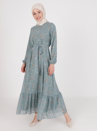 Mint - Floral - Crew neck - Fully Lined - Modest Dress