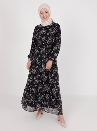 Black - Floral - Crew neck - Fully Lined - Modest Dress