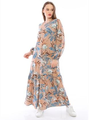 Mink - Floral - Crew neck - Unlined - Modest Dress
