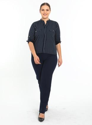 Navy Blue - Stripe - V neck Collar - Blouses