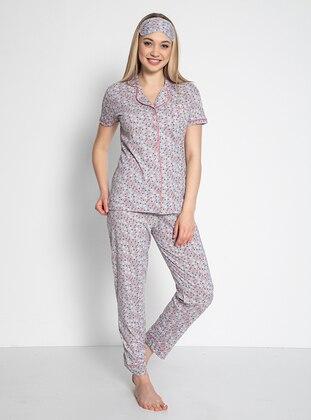 Gray - Shawl Collar - Multi - Pyjama Set
