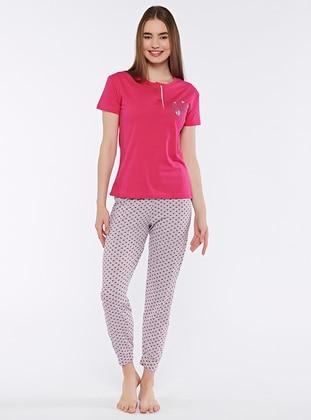 Fuchsia - Crew neck - Pyjama Set