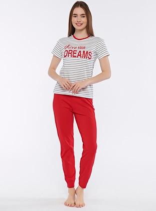 Red - Crew neck - Pyjama Set
