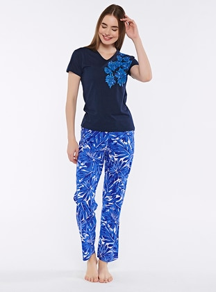 Navy Blue - Crew neck - Pyjama Set - Fawn