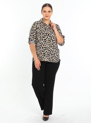 Beige - Leopard - Point Collar - Blouses