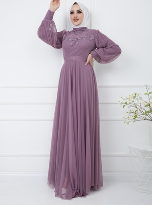 Lilac - Multi - Fully Lined - Crew neck - Modest Evening Dress