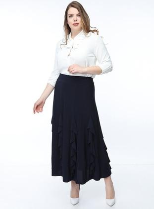 Navy Blue - Multi - Fully Lined - Skirt