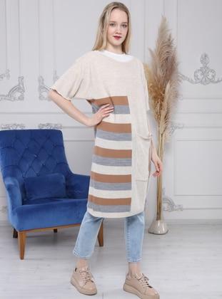 Stone - Stripe - Crew neck - Unlined - Knit Tunics