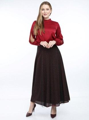 Maroon - Multi - Fully Lined - Skirt