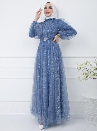 Indigo - Multi - Fully Lined - Crew neck - Modest Evening Dress