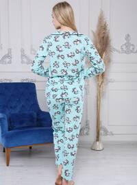 Multi - V neck Collar - Multi - Pyjama Set