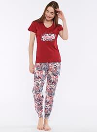 Maroon - Crew neck - Pyjama Set