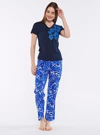 Navy Blue - Crew neck - Pyjama Set
