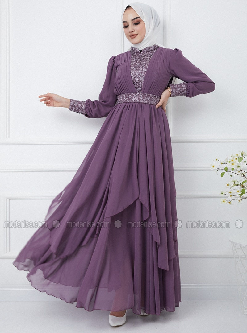 Lilac - Fully Lined - Crew neck - Modest Evening Dress