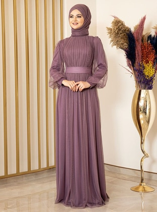 Fully Lined - Lilac - Crew neck - Evening Dresses