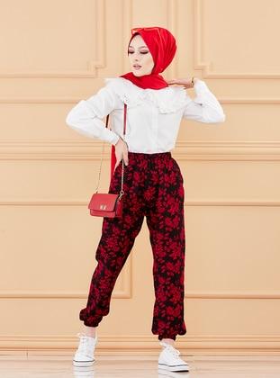 Maroon - Floral - Pants