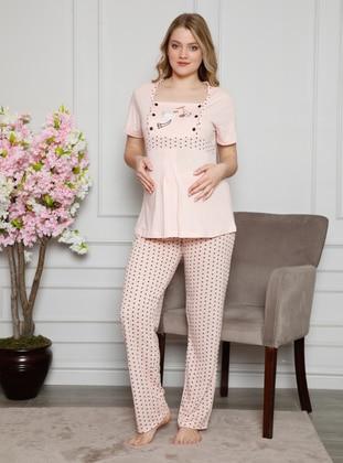 Salmon - Multi - Maternity Pyjamas - AKBENİZ