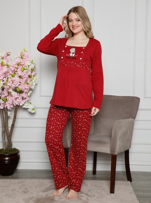 Red - Multi - Maternity Pyjamas - AKBENİZ