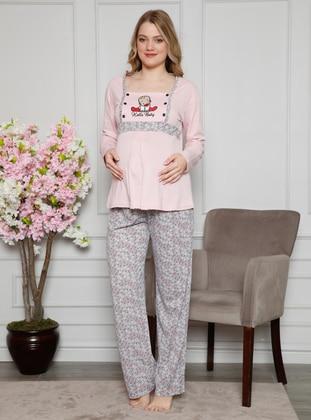 Gray - Pink - Multi - Maternity Pyjamas - AKBENİZ
