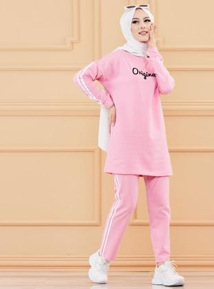 Pink - Crew neck - Tracksuit Set