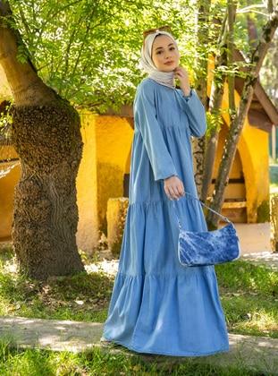 Blue - Crew neck - Unlined - Cotton - Modest Dress