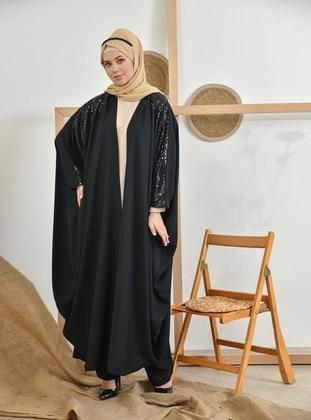 Black - Unlined - Crew neck - Abaya - Tuncay