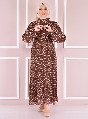 Brown - Modest Evening Dress