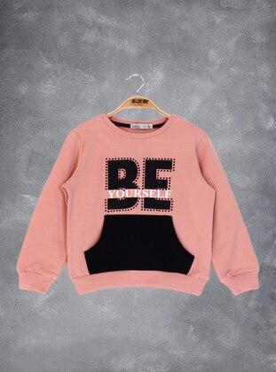 Printed - Crew neck - Unlined - Salmon - Girls` Sweatshirt
