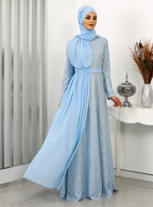 Baby Blue - Unlined - Crew neck - Modest Evening Dress