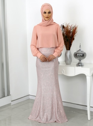 Salmon - Unlined - Crew neck - Modest Evening Dress