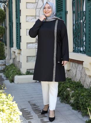 Black - Crew neck - Plus Size Evening Tunics - Emsale