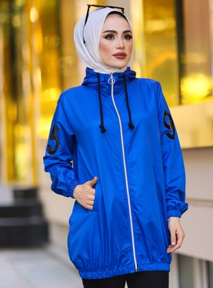 Blue - Unlined - Trench Coat - Tesse