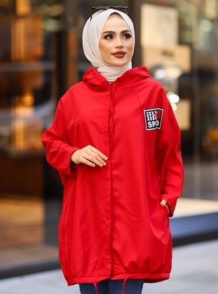 Red - Unlined - Button Collar - Trench Coat - Tesse