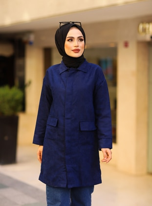 Navy Blue - Unlined - Point Collar - Topcoat - Tesse