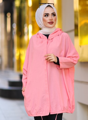 Pink - Unlined - Button Collar - Trench Coat - Tesse
