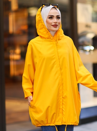 Mustard - Unlined - Button Collar - Trench Coat - Tesse