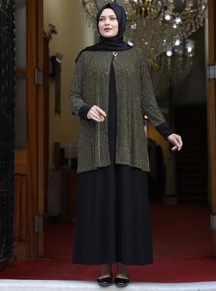 Gold - Unlined - Crew neck - Modest Plus Size Evening Dress