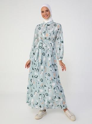Green Almond - Multi - Point Collar - Unlined - Modest Dress