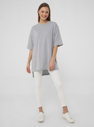 Gray - Cotton - T-Shirt