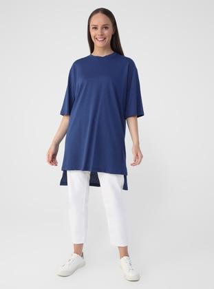 Blue - Navy Blue - Cotton - T-Shirt - Benin