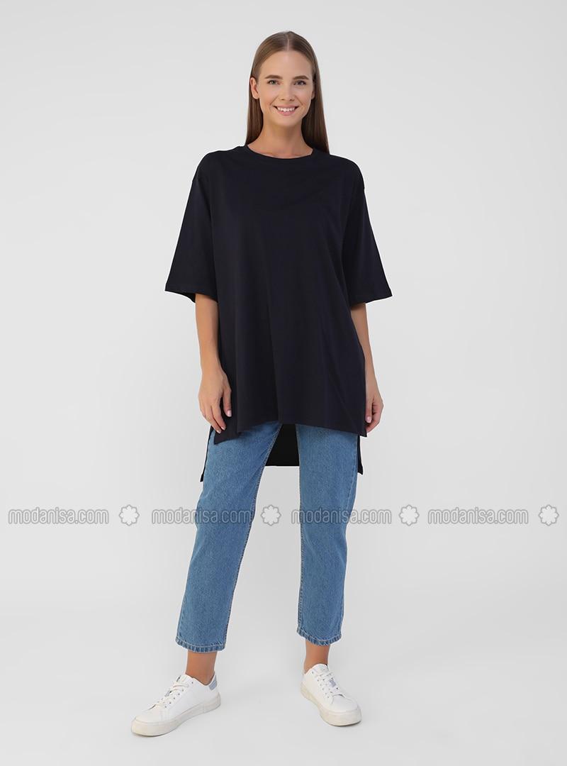 Navy Blue - Cotton - T-Shirt